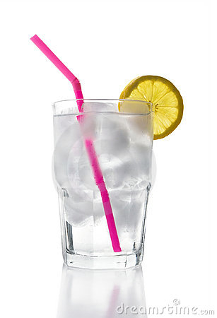 Ice Water With Lemon Straw Stock Images Image 2402584