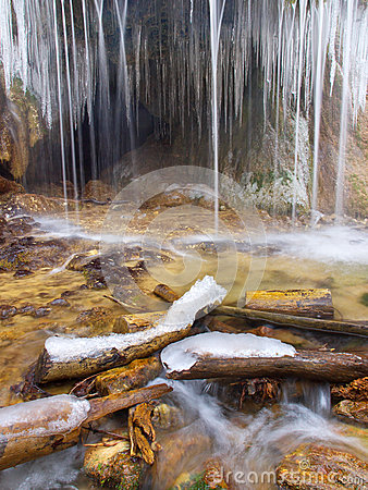 Ice and waterfall