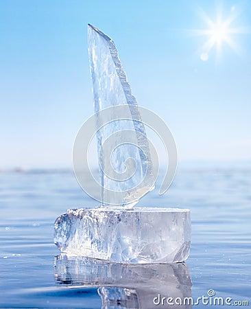 Ice yacht on winter Baical