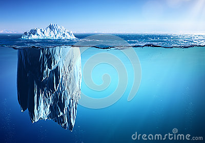 Iceberg Floating On Sea - Appearance And Global Warming Stock Photo