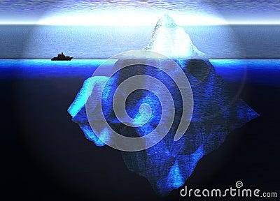 Iceberg flotante en el océano con el bote pequeño