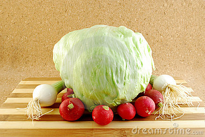 Iceberg lettuce with red radishes
