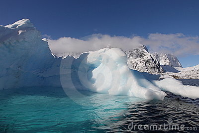 Iceberg with pool in Antarctica