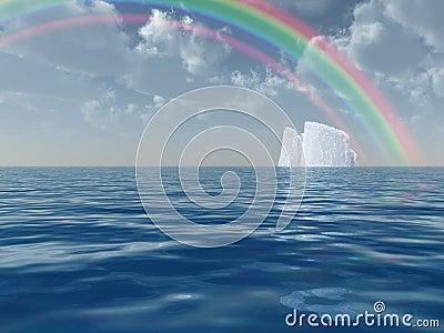 Iceberg with rainbow scene