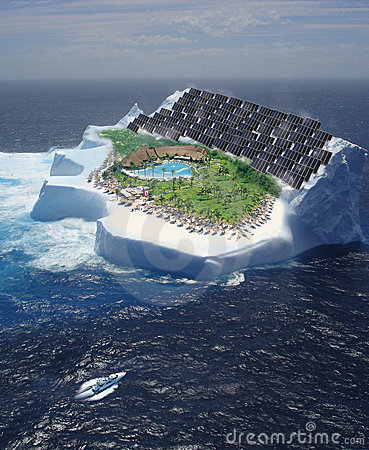 Iceberg with solar panels