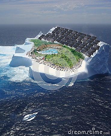 Iceberg with solar panels