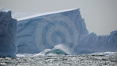Iceberg in stormy seas