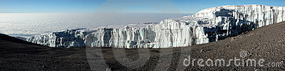 Iceberg at summit of mount Kilimanjaro panoramic