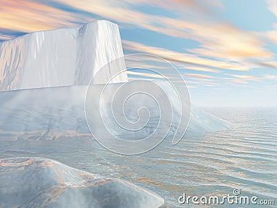 Icebergs and Aqua Sky