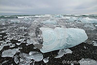 Iceblocks on beach