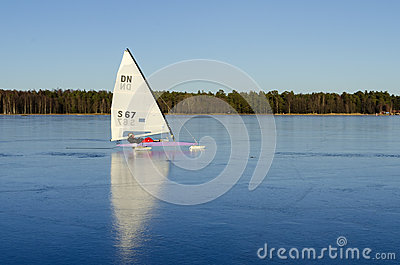 Iceboat on perfect black ice Editorial Stock Image