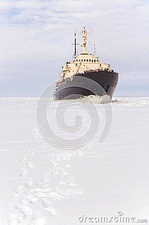 Free Icebreaker On The Frozen Sea Stock Photography - 5795152