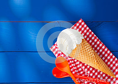 Icecream cone on checkered napkin