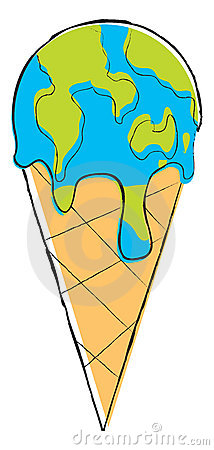 Icecream globe melting