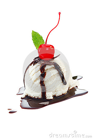 Icecream with topping of chocolate sauce