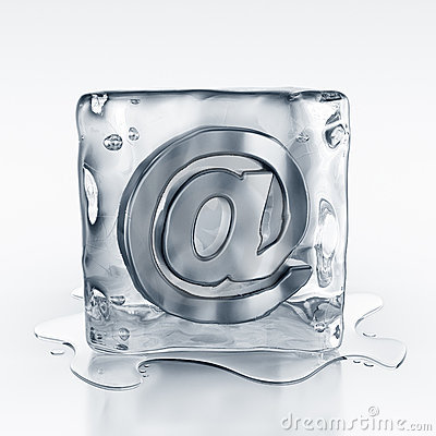 Icecube with email symbol inside