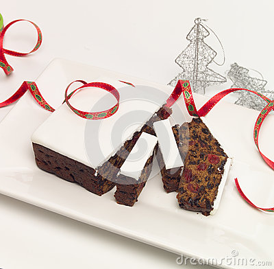 Free Iced Christmas Fruit Cake Stock Photos - 25131283