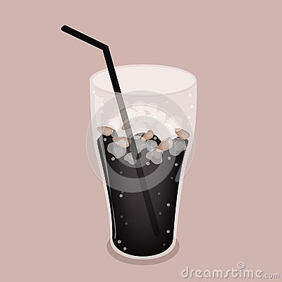 Iced Coffee or Cola Drink on Brown Background
