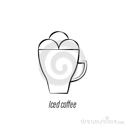 Iced coffee hand draw icon. Element of coffee illustration icon. Signs and symbols can be used for web, logo, mobile app, UI, UX Vector Illustration