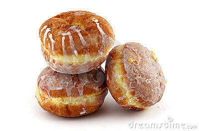 Iced donuts on white