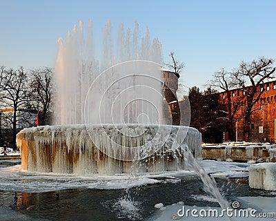 Iced fountain at Castello Sfozesco - Milan - Italy