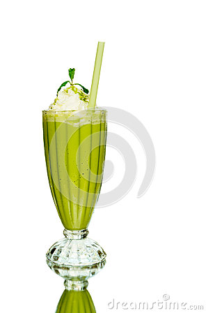 Free Iced Green Tea Frappe In The Glass Isolated Stock Image - 89937671