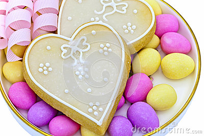 Iced heart shaped cookies