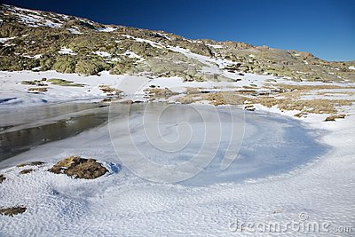 Iced lagoon at gredos