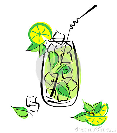 Iced mojito with lime and mint