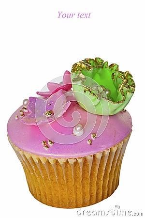 Iced cupcake.