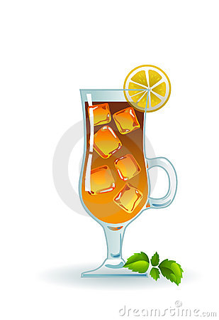 Iced tea with lemon and mint.