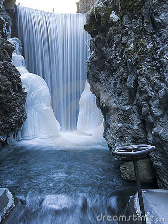Iced waterfall with valve
