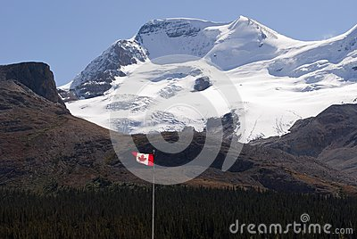 Icefield and Canadian flag