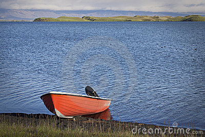 Iceland: Boat in Myvatn lake