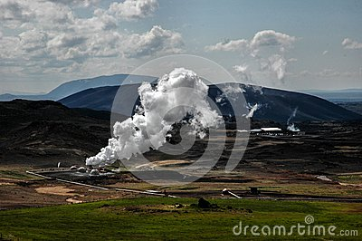 Geothermal energy is converted to electricity and hot water near ...