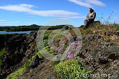 Iceland hiker takes a break
