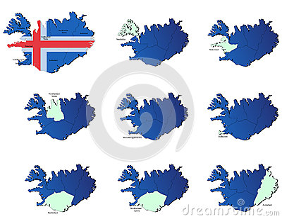 Iceland provinces maps