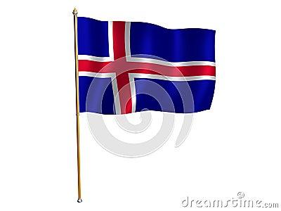 Iceland silk flag