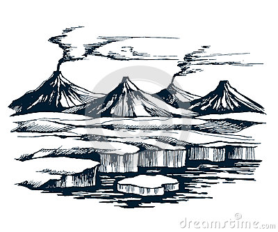 Iceland volcanic group on the island Vector Illustration
