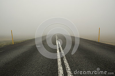 Icelandic road in fog