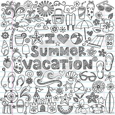 Ich liebe Sommer-Ferien-tropischen Gekritzel-Vektor