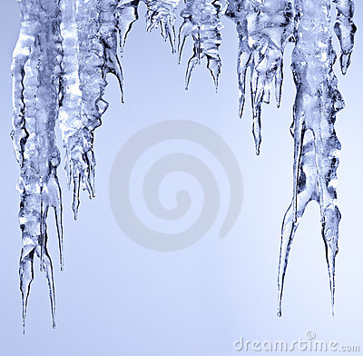 Icicle sparkling ice  hanging and melting
