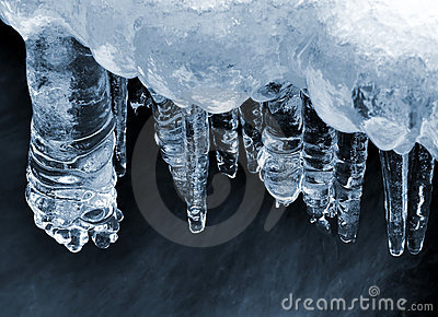 Icicles on a frozen creek