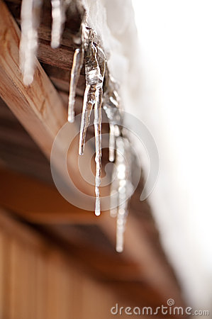 Icicles hanging off the roof