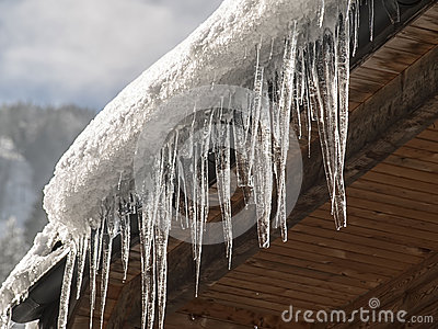 Icicles and snow on the  roof