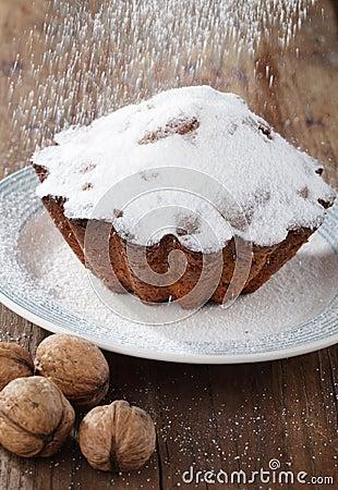 Icing sugar on a cake