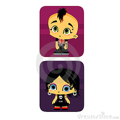 Icon boy and girl gothic