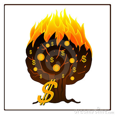 Icon of burning money tree