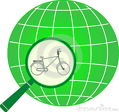 Icon with bycicle in magnifier on planet
