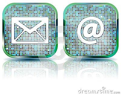 Icon e-mail glossy button,  illustration